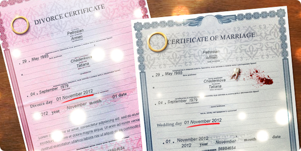 "Certificate of insurance ""Divorce on the wedding day"""